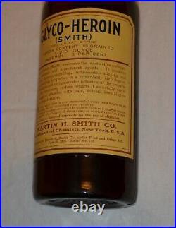 Antique Glyco Heroin Bottle Glass Apothecary Jar Medicine Drug New York Chemist