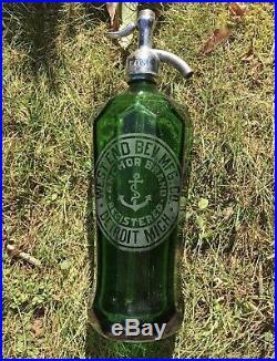 Antique Green Glass Seltzer Bottles New York Detroit Michigan With Case