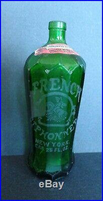 Antique Green Seltzer Bottle Beveled Glass French Siphonner New York Zarrow Bev