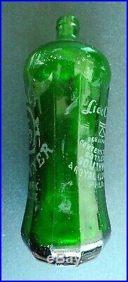 Antique Green Seltzer Bottle Beveled Glass Lido Club New York Royal Klub Philly