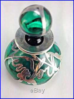 Antique Jade Colored Glass With Silver Overly New York Written Scent Bottle