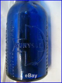 Antique Kumyscen Cobalt Blue Bottle for preparing Kumyss Reed Carnick NY Siphon