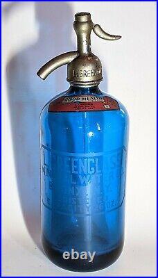 Antique L. Greenglass Mineral Water Co. Authentic Seltzer Bottle Bronx N. Y. Aqua