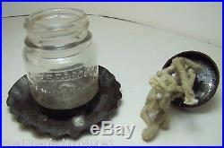 Antique Make-Do Oil Lamp tin base Cheesebrough Mfg Co New York glass bottle