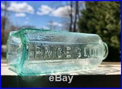 Antique NY Bottle 19thC John Moffat $1 Phoenix Bitters, Crude Green Aqua Pontil