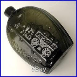 Antique NY Pictorial Flask GV-5 Railroad Success Horse & Cart Green Pint, c1840
