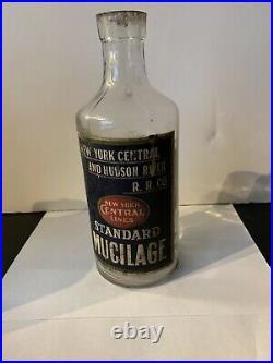 Antique New York Central LINES Hudson River RR Railroad STNDRD MUCILAGE Bottle