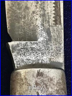 Antique Pocket Knife Camillus Cutlery New York Large Coke Bottle Hunter Wood