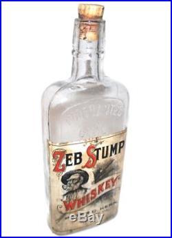Antique Pre-Prohibition Zeb Stump Whiskey Bottle Flask Peter C. Kern Buffalo NY