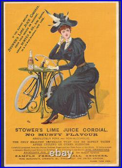 Antique RARE NY Stowers Lime Juice Cordial Lady Bike Gay 90's Bottle Trade Card