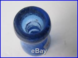 Antique Rich Blue Lancaster New York Blob Sevat Soda Bottle