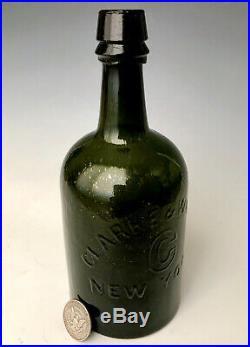 Antique Saratoga Mineral Water Bottle Clarke & White NY, Dark Green/Black Quart
