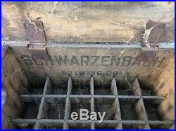 Antique Schwarzenbach Beer Crate Box With Inserts Hornell New York Advertising