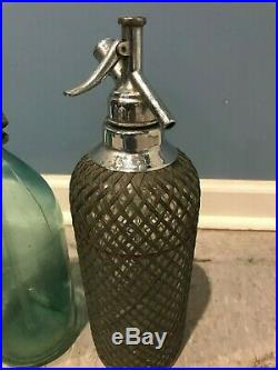 Antique Seltzer Bottle Collection of 4 etched mesh blue green New York Art Deco