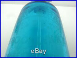 Antique, Seltzer Soda Syphon Bottle, blue glass, pewter cover, Brooklyn, N. Y