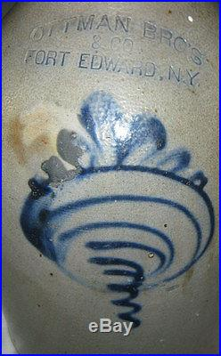 Antique Sign Country Primitive Ny USA Salt Glaze Slip Stoneware Jug Art Bottle