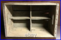 Antique Silver Fox Beverages New York Old Wooden Soda Crate With 2 Soda Bottles