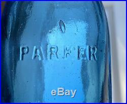 Antique Soda Bottle Parker NY Mint Iron Pontil Not Dug Dark Cornflower Blue Bful