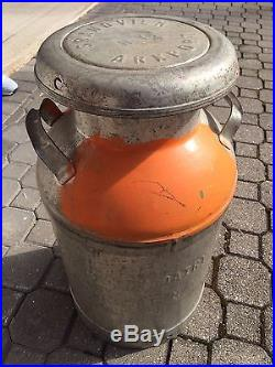 Antique Steel Lidded MILK CAN Grandview Dairy Arkport NY SIGNED 24x13 ORIGINAL