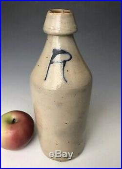 Antique Stoneware NY Ginger Root Beer Bottle with Cobalt, DW DeFreest, c. 1870, NR