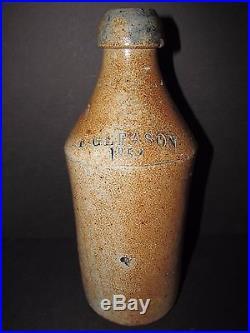 Antique Stoneware Soda Bottle, F. Gleason, Rochester New York, Root Beer