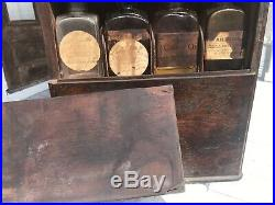 Antique Traveling Apothecary Case Cabinet New York Bottles Orig Drug Contents