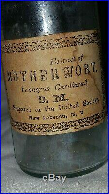 Antique United Shaker Society New Lebanon NY Medicine Motherwort Bottle with Label