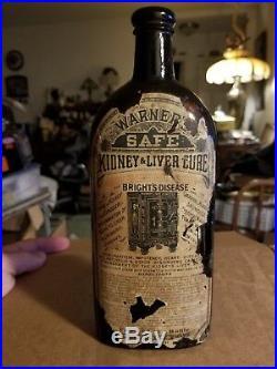 Antique Warners Safe Kidney & Liver Cure Rochester N Y Bottle Rare 9.5 Scene