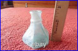 Antique Waters Inkwell Embossed Bottle Aqua glass Pontil Vintage Troy NY Ink Jar