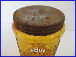 Antique William Kimball & Co AMBER Rochester NY Tobacco Jar Humidor Glass