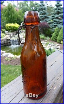 Antique c1890s WILLIAM SUGDEN TONIC ROOT BEER MFG BALLSTON SPA N. Y. Amber Bottle