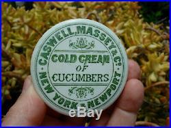 Antique, (ca 1880) ORIGINAL New York & Rhode Island Cold Cream jar pot lid
