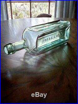 Antique scarce teal green Hyatt's // Infallible // Life Balsam / N. Y. Near mint