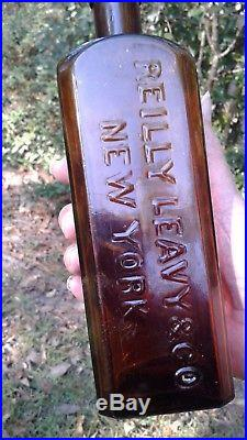 Antique unlisted extremely rare REILLY LEAVY & CO / NEW YORK amber 9.5 1860