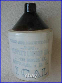 Antq Stoneware Jug PEOPLES LIQUOR Co, Buffalo NY, Rare 1890s, Cobalt Blue, 1 Gal