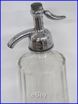 Art Deco Seltzer Bottle Clear Glass Prospect Bottling Works Brooklyn NY 190B