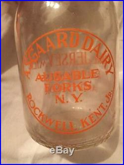 Asgaard Dairy Milk Bottle Ausable Forks, NY Rockwell Kent Jr Pyro Rare Jersey