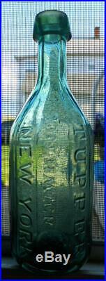 Attic Whittled Southwick & Tupper New York NY City Iron Pontil Sided Soda Bottle