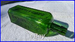 BEAUTIFUL DEEP EMERALD OLD DR. TOWNSEND'S SARSAPARILLA N. Y, Antique Bottle