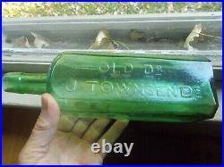 BEAUTIFUL GREEN OLD DR. J. TOWNSEND'S SARSAPARILLA NEW YORK 1880s DUG BOTTLE
