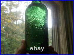 BOLEN WAACK &CO MINERAL SPRING WATER NEW YORK RARE 1/2 PINT GREEN 1870s BOTTLE