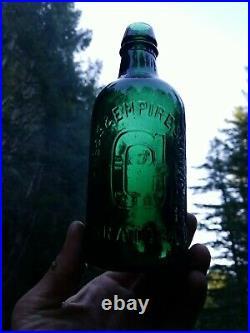 Beautiful Antique Deep Green New York Mineral Water Bottle! Clean Old Soda Bottle