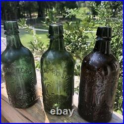 Blown Bottle SARATOGA NY HOTCHKISS CONGRESS Springs Crude Yellow Green 1860s