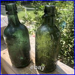 Blown Bottle SARATOGA NY HOTCHKISS CONGRESS Springs Deep Forest Green 1860s