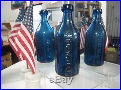 Brilliantcobalt Blueiron Pontil1850's Knickerbocker Blob Lip Soda Watern. Y