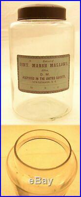 C1870 N. LEBANON NY SHAKER HERB 40oz JAR MARSH MALLOWS LABEL WithLID N. MINT ANTIQUE