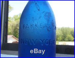 COBALT BLUE J. G. PARKER & SON NEW YORK 1860s DUG SQUAT BLOB TOP SODA BOTTLE