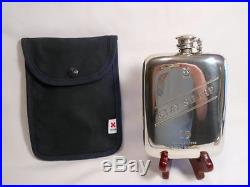 COOL BEST MADE CO NEW YORK STAY SHARP 10oz PEWTER FLASK & CANVAS HOLDER ENGLAND