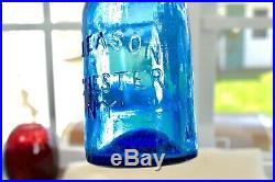 Circa 1850's Cobalt Blue F. Gleason Pontil Soda Bottle Rochester, New York, Ny
