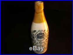 Circa 1880s Hinckel Ceramic Krug Beer Bottle, Albany, New York